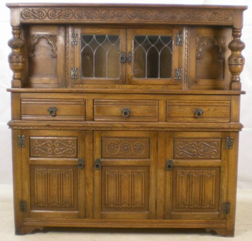 Antique Jacobean Style Light Oak Court Cupboard - SOLD